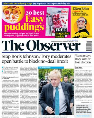 The Observer front page