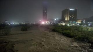 A general view of the Santa Catarina river is seen during Storm Hanna in Monterrey, Mexico July 26, 2020