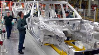Workers at the Jaguar Land Rover plant at Solihull