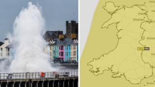 Waves crash over Aberystwyth and a graphic showing the weather warning over the whole of Wales on Thursday