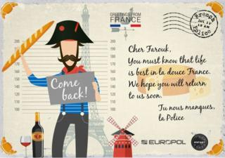 """Cher Farouk, You must know that life is best in la douce France. We hope you will return to us soon,"" says the card from the French police, adding in French ""we miss you!"""