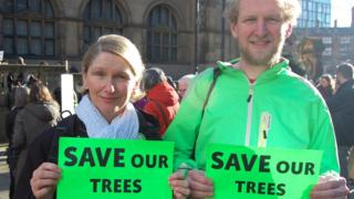 Councillor Alison Teal and Rob Cole at the Save Our Trees demonstration outside Sheffield Town Hall. in February