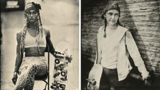 Composite of two portraits of skateboarders