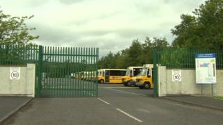 The boy was found alone in a bus in this depot in Omagh on Tuesday