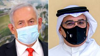 Israel's Prime Minister Benjamin Netanyahu and Bahrain's Crown Prince Salman bin Hamad al-Khalifa