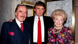 A 1992 photo of Donald Trump with his parents Fred Trump and Mary Anne Trump