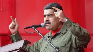 Venezuelan President Nicolas Maduro speaking during a ceremony of the Bolivarian National Armed Forces (FANB) in Caracas, Venezuela