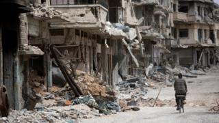 Ruined street in Homs, Syria
