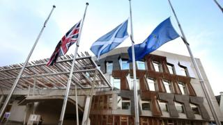 Union Jack, Saltire and European Union flag outside the Scottish Parliament