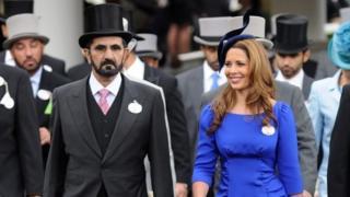 Dubai ruler Sheikh Mohammed Al-Maktoum (left) and Princess Haya Bint Al-Hussein at Ascot racecourse, the UK. Photo: June 2012
