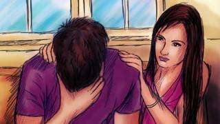 People enduring alcoholism - illustration