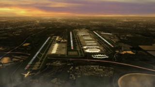 Graphic image showing an impression of how a third runway might look