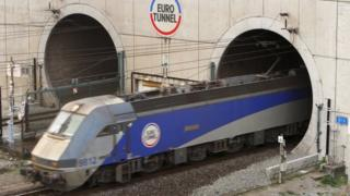 Train leaving the channel tunnel in France
