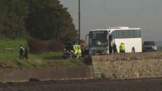 The crash involving a bus and motorcycle happened on the Portaferry Road on Sunday