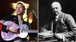 Chris Martin and his great-great-grandfather William Willett
