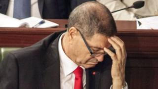 Tunisian PM Habib Essid reacts during a vote in parliament in Tunis. Photo: 30 July 2016