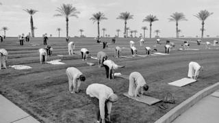 Outdoor group fitness early in the morning in the retirement Sun City, Arizona. Ages range from 60 to a 94 year old who had run a 50secs hundred meters in the Senior Olympics