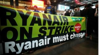 Ryanair strikers in Belgium