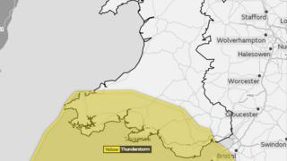 A map of Wales with a yellow weather warning in the south