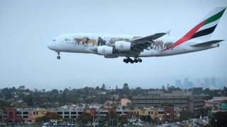 Emirates plane lands at LA aiport