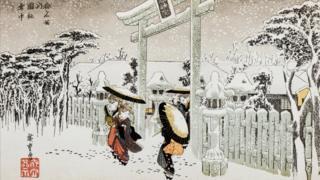 Ilustración antigua: Puerta del templo Shinto hecha por Hiroshige I