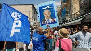 Simpatizantes de Benjamin Netanyahu