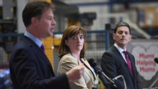 David Miliband, Nick Clegg and Nicky Morgan speaking in Essex