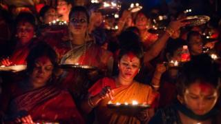 ঢাকায় হিন্দুদের একটি ধর্মীয় উৎসব।