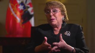 Michelle Bachelet en entrevista con la BBC.