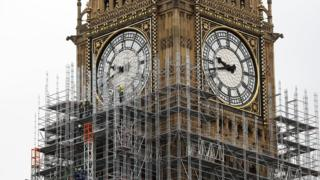 Workmen erect scaffolding around the Elizabeth Tower, commonly known called Big Ben, during ongoing renovations to the Tower and the Houses of Parliament