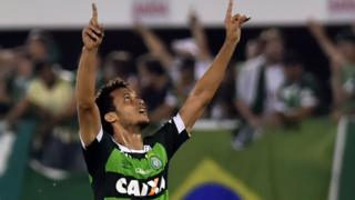 Photo taken on 28 October, 2015 shows Neto of Brazils Chapecoense celebrates after scoring against Argentina's River Plate during their Copa Sudamericana football match