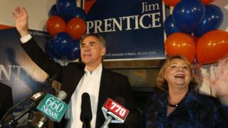 Jim Prentice and his wife address supporters after his 2014 victory