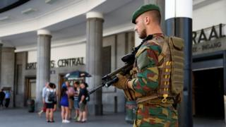 Security was tight around Brussels Central Station on Wednesday