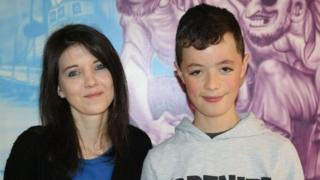 Sarah Lewis thanked staff at Ysbyty Gwynedd's children's ward for looking after her son