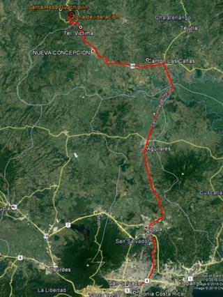 Mapa del recorrido que supuestamente hizo Mario Huezo desde su casa para tirar el cuerpo de su compañera sentimental, Karla Turcios.