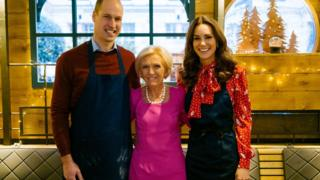 The Duke and Duchess of Cambridge with TV chef Mary Berry