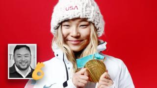 Picture shows Chloe Kim proudly holding her gold medal while wearing her snow gear and inset shows David Chang with an 'OK' hand emoji.
