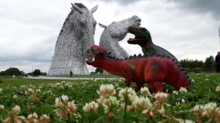 Kyra Tweddle's son wondered who would win in a fight between the Kelpies and his dinosaurs so they put it to the test.