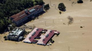 Flooded Kawagoe Kings Garden nursing home besides the Oppegawa river in Kawagoe