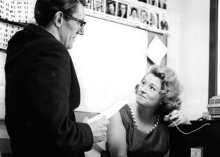 Hazel Adair pictured with Peter Ling, co-authors of BBC TVs twice weekly series Compact