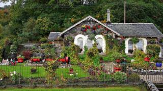 Cottage surrounded by flowers