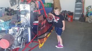 Adeline, 6, with her junior drag racer