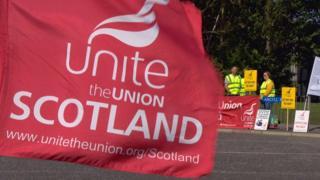 Unite members on strike at Aberdeen Airport