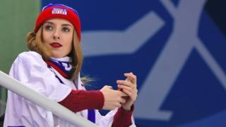 Une supportrice russe lors des JO d'hiver de Pyeongchang.