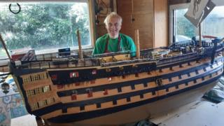 Michael Byard with his HMS Victory model