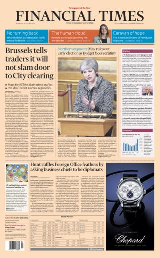 Financial Times front page - 31/1/18