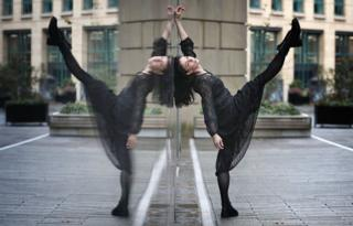 Principal of the Royal Ballet, Natalia Osipova, performs outside the Edinburgh International Conference Centre
