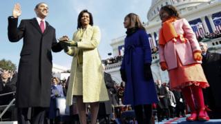 Barack Obama takes the oath of office