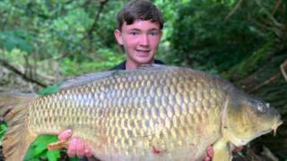 Kaden McCarthy with big carp