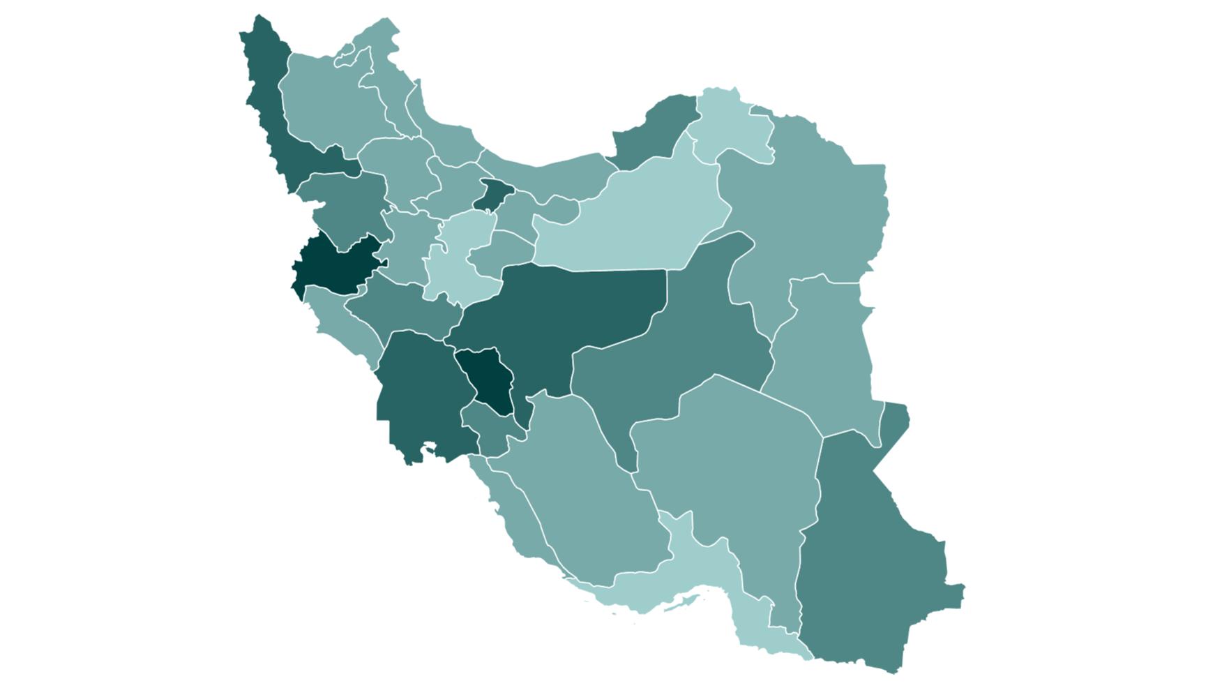 نقشه بیکاری در استان های ایران
